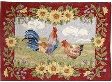 Decorative Rooster Design Wool Accent Rug